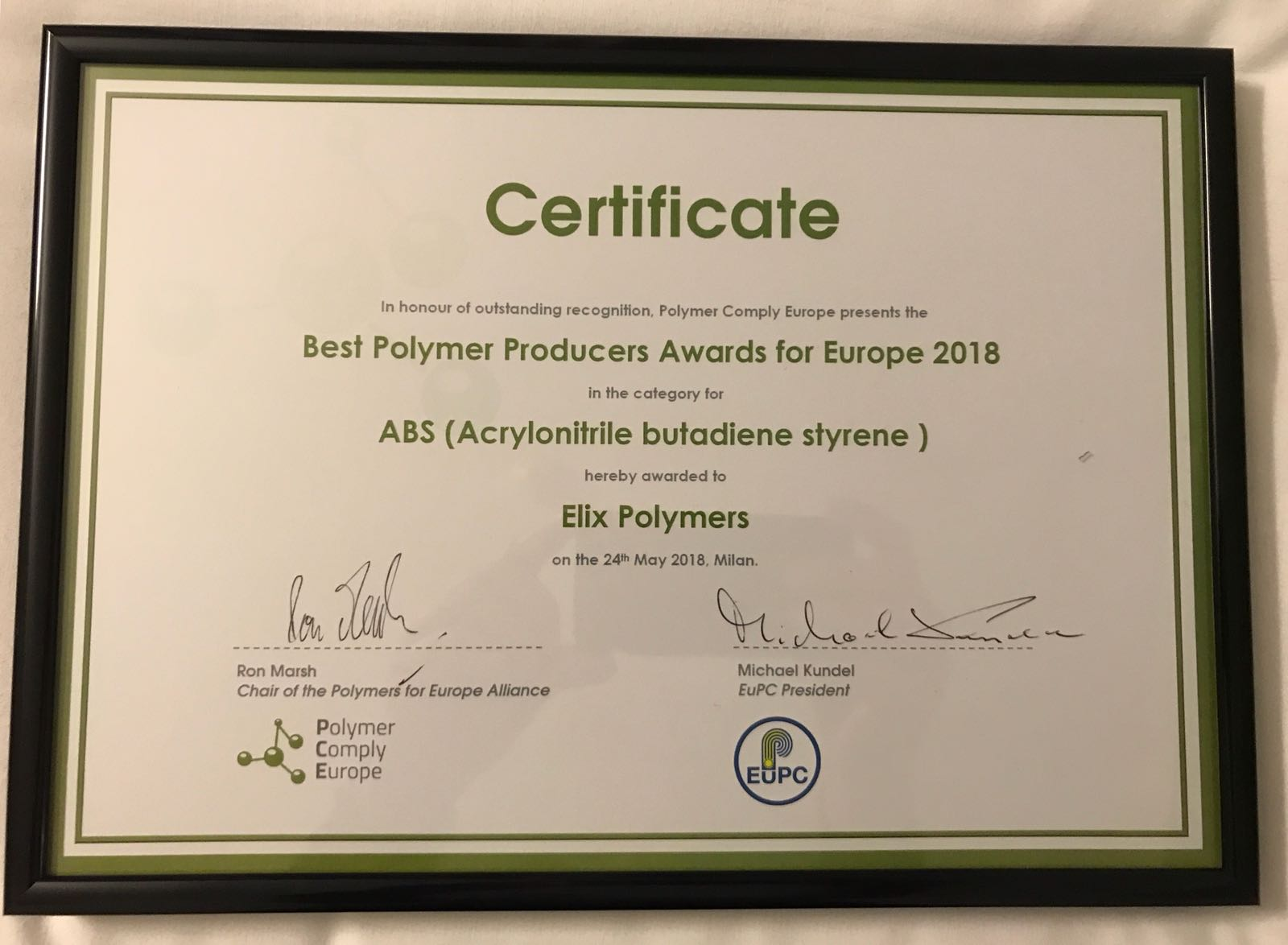 Best Polymer Producers Awards Europe 2018